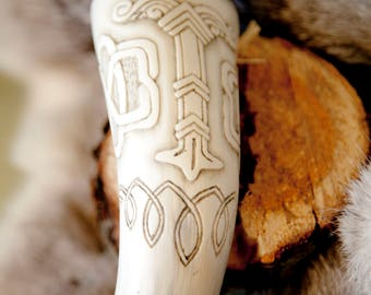 Perfect for drinking horn with beautiful carvings. Handmade.