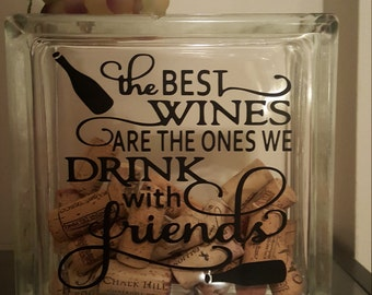Wine and Grapes Glass Block Wine Corks Decoration
