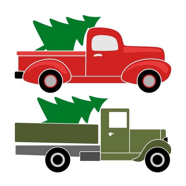 Free Christmas Tree Pick Up: Retro Pickup Truck Christmas Tree Cuttable Designs SVG DXF