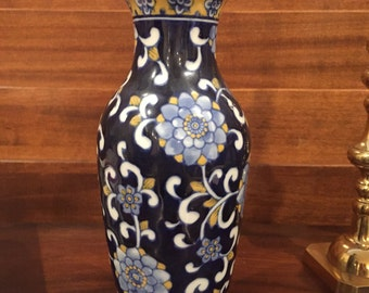 Blue, White, and Yellow Chinoiserie Vase- Home Decor- Asian- Floral- Centerpiece