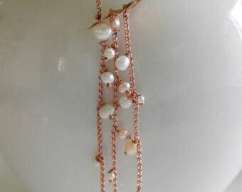 Pearl cascade necklace summer, balance