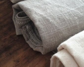 LINEN / SILK / HEMP: rough bath / hand towels, handmade from different rough natural fabrics _ linen, raw silk or hemp