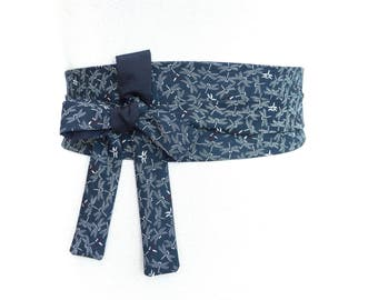 Reversible Obi Sash Belt, Japanese & Haute Couture Fabric Wide wrap belt, Waist belt Dark blue white navy Cotton dragonflies red bordeaux