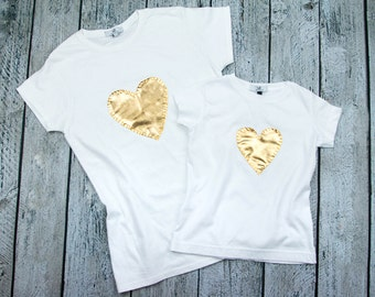 NEW LOWER PRICE !Matching Mom and Daughter t shirt set with gold hand stitched heart
