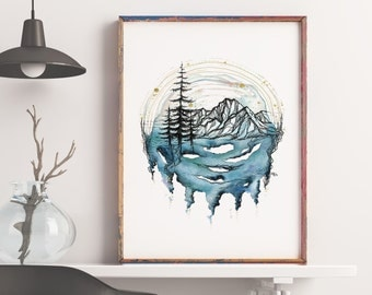 Twilight - Mountain Art - Pacific Northwest Art - Print - Nature art - Watercolor Print