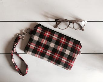 Plaid wristlet wallet, zipper pouch, iphone wallet case, zipper clutch