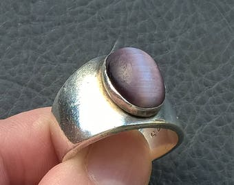 1920's MEXICO Antique Solid 925 Sterling Silver Purple Cat's Eye Men Ring