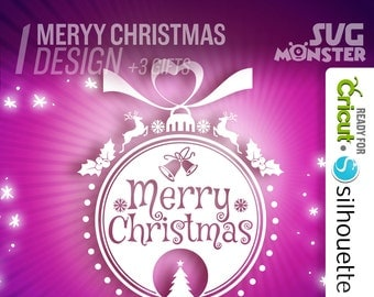 MERRY CHRISTMAS SVG Monogram Label svg • Cut Files for Electronic Vinyl Cutter for Cricut Design Space Silhouette happy Xmas Logo • 087