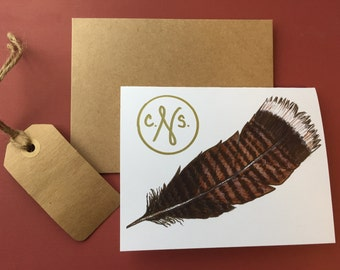 Feather Notecards, personalized