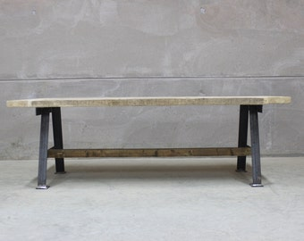 Reclaimed Dining Table with Industrial Steel A Frame ( A-Game)