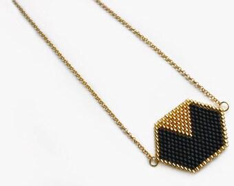 Chain gold black Hexagon