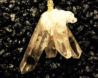 Quartz Crystal Pendant with Gold-Filled Wire  QC-7723