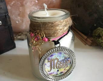 Freespirit glass candle soy wax [UPCYCLING] dream catcher / witch / Wiccan / spiritual / handmade / rustic / magical Moss