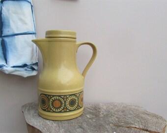 Coffee lovers! Vintage Kiln Craft Staffordshire Potteries Coffee Pot / Carafe - Bacchus Design / Boho Juice Jug