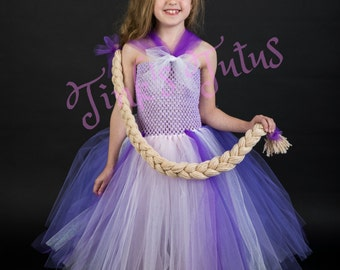 Long Tutu Style Rapunzel Dress with Long Braided Hair