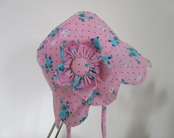 Baby's Sun Hat, Pink, flower trim