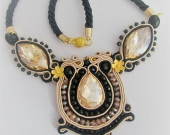 soutache necklace black and beige