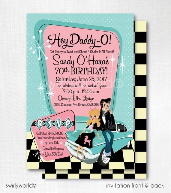 retro 1950s birthday party 50s rockabilly invitations sock