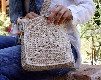 Small crossbody bag, Crochet handbag, Small shoulder bag, Granny square bag, Boho purse, White crochet bag, Two sided crochet design, Lined.