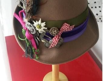 Handmade ladies felt hat, hat or Wiesenhut