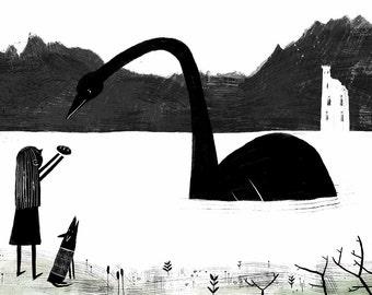 Loch Ness - Illustration - A4 Indigo Print