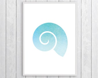 Blue Ocean Wall Art, Coastal Art Decor, Coastal Decor Ideas, Seashell Print Art, Seashell Printable Wall Art, Vibrant Wall Art, Beach Decor