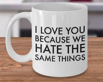 Funny Valentine's Day Mug - Best Boyfriend Mug - Husband Gift - Wife Gift - I Love You Because We Hate the Same Things Ceramic Coffee Mug