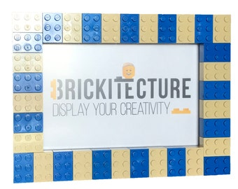 Picture Frame - Blue/Tan - Authentic 2x3 LEGO Bricks Attached