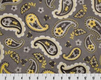 Fabric, Minky fabric, Pretty Paisley Cuddle® Lemon/Silve