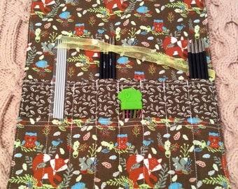 medium sized DPNS roll, Brown, leaf & animal print also suitable for crochet  hooks. Fox, owl, squirrel hedgehog.