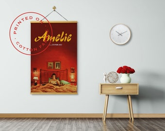AMELIE Movie Poster on Fabric, Jean-Pierre Jeunet, Audrey Tautou, Pull down Poster, Print on Fabric, Poster Hanger, Fabric Poster