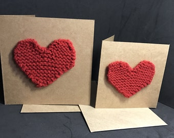 Knitted heart square kraft card