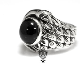 Dragon Scales Ring,Dragon Scales Onyx Ring,Sterling Silver 925 Black oxidize.