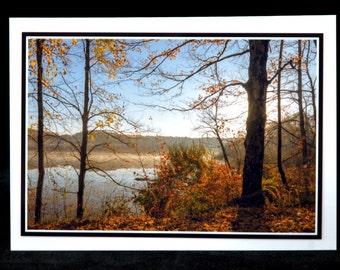 An Autumn Sunrise At Kiser Lake 5x7 Blank Card By Thomas Minutolo