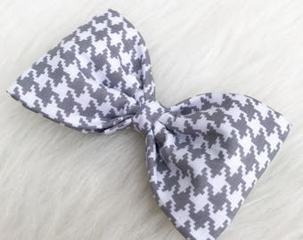 Houndstooth Bow, Grey Houndstooth Bow, Grey Bow, Light Grey Bow