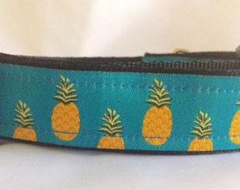 Pineapples on Blue Dog Collar