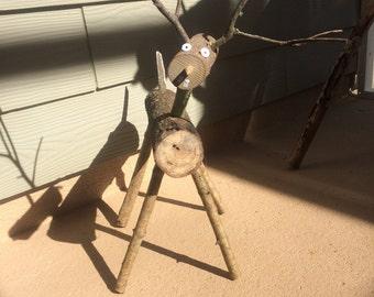 Reindeer - Log Reindeer- wooden reindeer - Christmas reindeer - rustic log reindeer baby