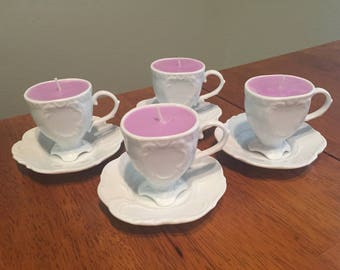 Mini Tea Cup Candles (Set of 4 with Saucers)