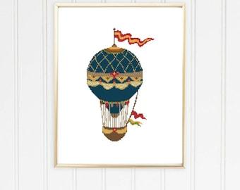 Hot air balloon cross stitch/vintage style/boho cross stitch/balloon cross stitch/hot air balloons/air balloon pattern/#10-001