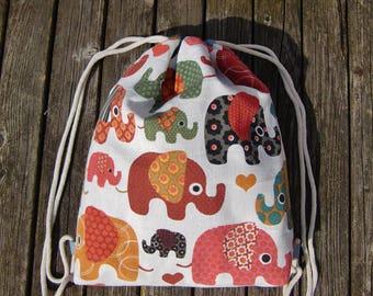 gym bag - backpack - kids - elephants