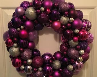 Purple Wreath with Lights