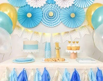 Baby Boy Shower Decorations,  Birthday Boy Party Decorations, Blue and Gold Party Kit, Party in a Box, Party Package