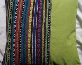 Series Mexico 5: cushion 40x40cm (16 x 16), striped cotton Mexican motifs, multicolor, green cotton.