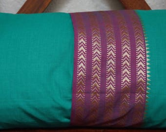 Rainbow sky 13 series: South India cover 30x50cm (12 x 20 inches) cushion, cotton lined with embroidered braid. Green color.