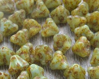 Czech Flower Beads, Czech Glass Beads, Czech Picasso Beads, Glass Flowers, Blue Beads, 6mm Beads, Small Flowers, Duck Egg Picasso , Pack 25