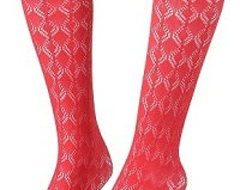 Diamond shape Pointelle Knee High Socks Knitted Boot Socks Gift for Her
