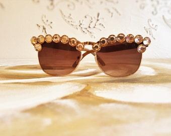 Retro Sunglasses, Rhinestones Sunglasses, Festival Sunglasses, Cat-Eye Sunglasses , Festival Accessories, Embellished Sunglasses