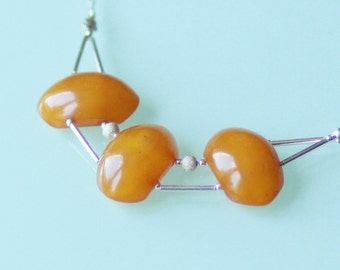 Dickey 3 amber cabochons and unique model sterling silver