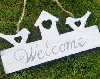 "Hand Painted Shabby Chic ""Welcome"" Sign"