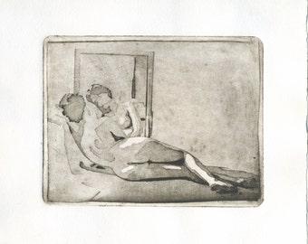 "Original etching ""Venus and the mirror"""